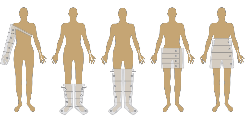 cuff varioations for compression therapy unit